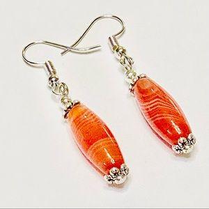 Your New Orange Onyx Cylindrical Drop Earrings